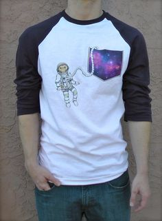 Astronaut Chimp Pocket Tee by BeesPocketTees on Etsy  Use coupon code BLACKFRIDAY14 to get 25% off your entire order!