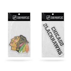 Chicago Blackhawks Magnet Set 2 piece Logo Wordmark NEW NHL Free Shipping!
