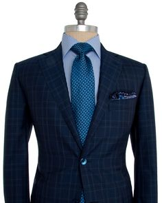 Image of Belvest Navy Plaid Suit Mens Tailored Suits, Mens Suits, Sharp Dressed Man, Well Dressed Men, Suit Fashion, Mens Fashion, Classic Men, Gentlemen Wear, Look Man
