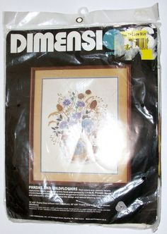 Vintage Dimensions Crewel Embroidery Kit 1984 Pansies and Wildflowers New 1276 #Dimensions