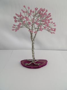 Pink Tree of Life Pink Seed Bead Tree Wire by ArtfullyWrapped, $40.00