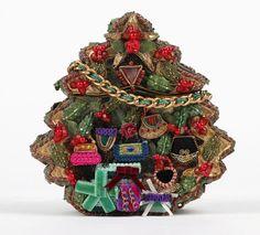 mary frances christmas tree themed folk art to wear shoulder handbag purse - Christmas Purses Handbags