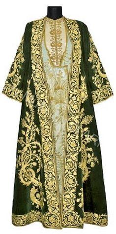The Mayor's wife's ceremonial dress. Armenian, from Karin/Erzurum, Bustle Dress, Ottoman, Green Silk, Armenia, Historical Clothing, Kimono Top, Vintage Fashion, Armours, Sherwani
