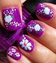 Bright Purple Nails with Flowers
