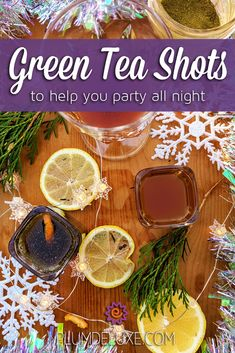 Green Tea Shots to Help You Party All Night Mix up these energizing green tea shots to help keep you and your friends going all day and all night long. Tea Cocktails, Cocktail Recipes, Hot Wassail Recipe, Tea Concentrate Recipe, Green Tea Shot, Blender Bottle, Ginger Juice, Wine And Liquor, Honey Recipes