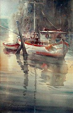 Dusan Djukaric  Watercolor, Fisherman boat, 38x56 cm