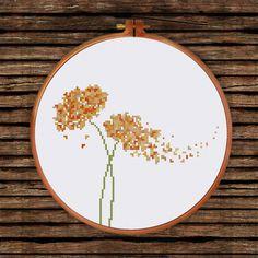 Modern Flower cross stitch pattern Minimalist by ThuHaDesign