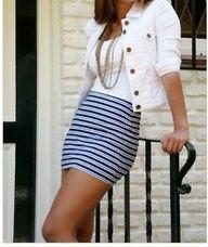 striped skirt, white jean jacket