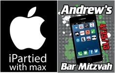iParty Theme Ideas - iPhone Bar & Bat Mitzvah Logo by Mazel Tov Gear - mazelmoments.com