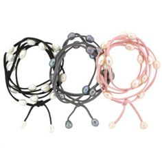 """SET of 3 Leather and Pearl Wrap-around Convertible 2-in-1 """"Bobbi"""" Bracelet in BLACK GREY and PINK --- Presented in Complementary Silk Organza Jewelry Pouch - Great Gift Idea! Bucasi. $34.95. 3-in-1 bracelets can also be worn as a necklace, or anklet. Soft Suede and Freshwater Pearls create a staple piece that can easily go from daytime to evening. One size fits all, wraparound style permits adjustable lengths. Comes with Complementary Bucasi Silk Organza Jewelry Pouch - Makes a G..."""