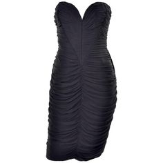 Vintage 1980s Bodycon Vicky Tiel Strapless Black Dress With Heart Bodice | 1stdibs.com