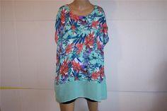 SAMI & JO Shirt Blouse Plus 1X Sheer Colorblock Floral Womens Sleeveless Top #SamiJo #Blouse #Casual