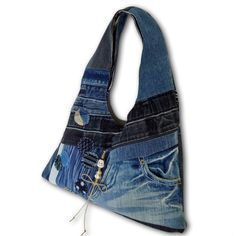 #Recycled #Old Jeans & Old Hand dyed #Indigo Fabric Hobo by kazuewest, $99.00
