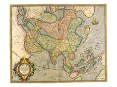 Map of Asia 1633 by Gerardus Mercator