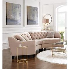 Luxury Sofa For Small Living Room.Lounging With Style: Create The Perfect Living Room. White Sofa Design Ideas Pictures For Living Room. Living Room Without Sofa, New Living Room, Formal Living Rooms, Modern Living, Small Living, Curved Couch, Curved Sectional, Diy Living Room Decor, Living Room Furniture
