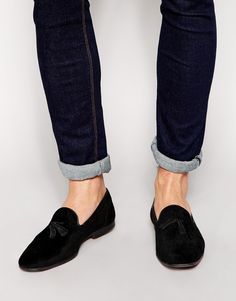 Image 1 of ASOS Tassel Loafers in Black Velvet With Floral Design
