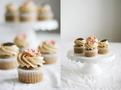 Banana cupcakes with caramel frosting!
