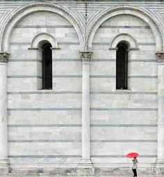 Walking on the Edge by Phillip Klinger Photography Umbrella Photography, Fine Art Photography, Red Umbrella, Vintage Doors, Walking In The Rain, Roman Empire, Architecture Details, Pisa, Tuscany