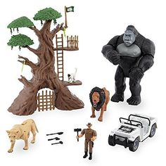 Animal Planet Lights & Sounds Jungle Encounter Mega Playset with Large Gorilla Figure. Includes a tree fort with ladders and swinging door, monkey, lion, lioness, all-terrain vehicle, explorer, accessories and large gorilla figure. Lions, gorilla and explorer have moveable arms and legs. When the gorillas chest is pressed, his eyes light up red and he makes realistic sounds and moves his arms!. AA batteries required (included).