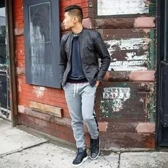 Men's Outfits 2021 | Lookastic Semi Casual, Smart Casual, Shirt Jacket, Bomber Jacket, Navy Shawl, Sweet Style, Men's Style, Black Leather Biker Jacket, Navy Jeans