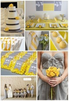 Yellow and Grey Wedding Love the LEMON DROP idea!