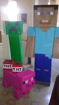 Minecraft versus Fortnite kinderfeestje decoratie minecraft