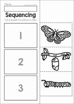 Spring Preschool No Prep Worksheets & Activities. A page from the unit: butterfly life cycle sequencing
