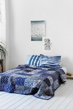 Noodle Indigo Patchwork Quilt #urbanoutfitters This looks possible with the indigo batiks I already have.