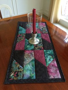 Batik Jewel Tone Quilted Table Runner Plum Teal Berry by seaquilt