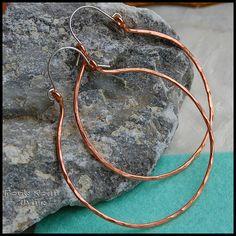 amazing handmade copper jewelry / Copper Huge Retro Hoops