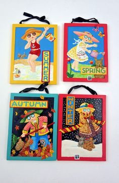 Lot 4 Mary Engelbreit Plaques Spring Summer Fall and Winter with Strings