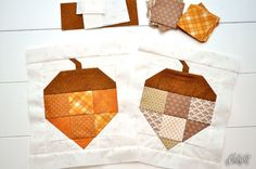 scrappy acorn quilt block by Stubbornly Crafty Cute Quilts, Scrappy Quilts, Mini Quilts, Quilt Block Patterns, Pattern Blocks, Quilt Blocks, Pattern Ideas, Fall Sewing, Halloween Quilts