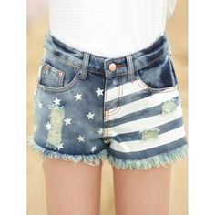 Stylish Women's Striped Star Print Ripped Denim Shorts — 21.32 € Size: XL Color: DENIM BLUE