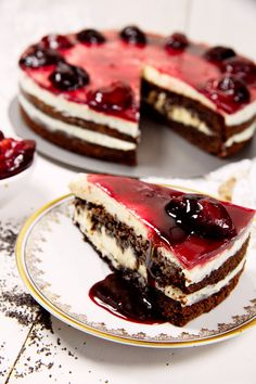 St[v]ory z kuchyne   Cheesecake Cake with Chocolate, Poppyseeds and Drunken Plums