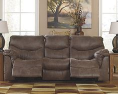 Ashley Furniture Alzena Reclining Sofa 7140088 with Pull tab reclining motion,Corner-blocked frame with metal reinforced seat,Tight back and seat cushions,High-resiliency foam cushions wrapped in thick poly fiber Furniture, Nebraska Furniture Mart, Power Reclining Loveseat, Love Seat, Reclining Sofa, Ashley Furniture, Sofa, Recliner, Ash Furniture