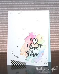 TRENDY WATERCOLORED card by @parkermolly using the #EssentialsbyEllen Love You So stamp set. #LoveYouSo #ellenhutsonllc