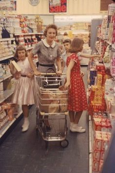Mrs. Nixon grabbing some time from her official schedule as Second Lady to go supermarket shopping with her daughters in the 50s.