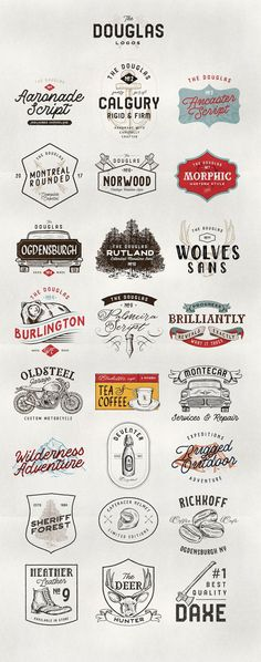 DOUGLAS COLLECTIONS BUNDLE - Comes with 12 Handmade FONT FILES with rough effect, 25 Detailed Illustration, 24 Editable text Logos and 36 Shape Badges (72 if counting with Line verson of badges). By Adam Fathony $23 #affiliatelink