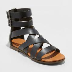 6e7377565 Women s Rosalee Microsuede Wide Width Gladiator Sandals - Universal Thread  Black 11W