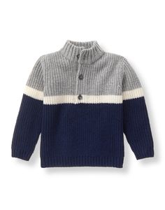 Our cozy layer features a colorblock and stripe design. Mock turtleneck style is finished with a half-button placket.Boy Navy Colorblock Sweater by Janie and JackClassic and refined, Janie and Jack's designer baby boys sweaters and warm cardigans wil Baby Boy Sweater, Knit Baby Sweaters, Toddler Sweater, Boys Sweaters, Striped Sweaters, Oversized Sweaters, Baby Cardigan, Winter Sweaters, Vintage Sweaters