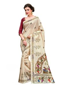 Exquisite Cream Silk Printed Saree -  Description: Take your ethnic collection to a new height with the Exquisite Cream Silk Printed Saree from Lurap. The cream colored saree features a unique traditional print and is teamed with a bright red blouse crafted in fine silk.  Details: Printed Work  Sizes Available: Saree Length- 5.5 meter Blouse Piece  Size upto 42 inches Blouse Piece Length- 0.80 meter  Colour and Fabric: Saree- Cream, Blouse- Red  and  Saree- Silk, Blouse- Silk