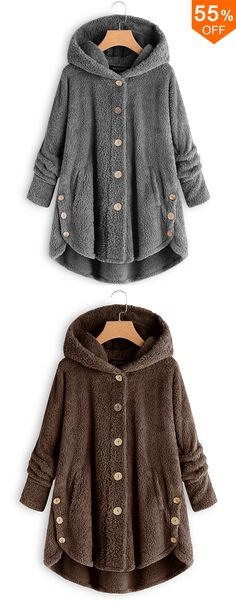 Plus Size Pure Color Hooded Fleece Coats For Women - Mode für Frauen Sport Outfits, Casual Outfits, Fashion Outfits, Moda Kids, Coats For Women, Clothes For Women, Mode Boho, Plus Size Coats, Trendy Fashion