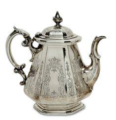 Teekanne London, um 1849/50, Joseph Angell & John Angell Konische, sechsseitige Form mit abges — Silber