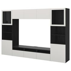 """Create a better everyday with BESTÅ TV storage combination/glass doors, black-brown Lappviken, Sindvik light gray clear glass, 118 """". All you need to keep the area around the TV organized. You get lots of storage space and relief from unruly cords. Tv Storage, Extra Storage, Storage Spaces, Tv Bench, Plastic Drawers, Drawer Runners, Drawer Fronts, Tv Unit, Glass Shelves"""