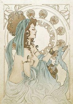 Aquarius - Passionate lover and quite (Illustration Horoscope for Indonesia printer 2008)