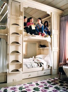 bunk beds, all Grandkids in one sleeping room with curtains for small amount of privacy. .