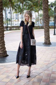 Morgan company white lace dress bow