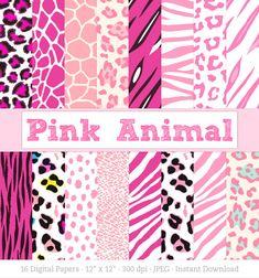 Digital Paper: Pink Animal Print, Zebra Print, Leopard Print, Tiger Stripes, Cheetah Spots, Giraffe Print, for Baby Girl - Instant Download