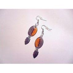 Boucles D'oreilles Ovales, Orange, Gris - 115