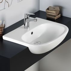 tonique Semi Recessed Basin with 1 Tap Hole From RAK Ceramics. Bathroom Vanity Units, Bathroom Doors, Bathroom Toilets, Bathroom Furniture, Bathroom Sinks, Modern Bathroom, Bathroom Ideas, Family Bathroom, Downstairs Bathroom